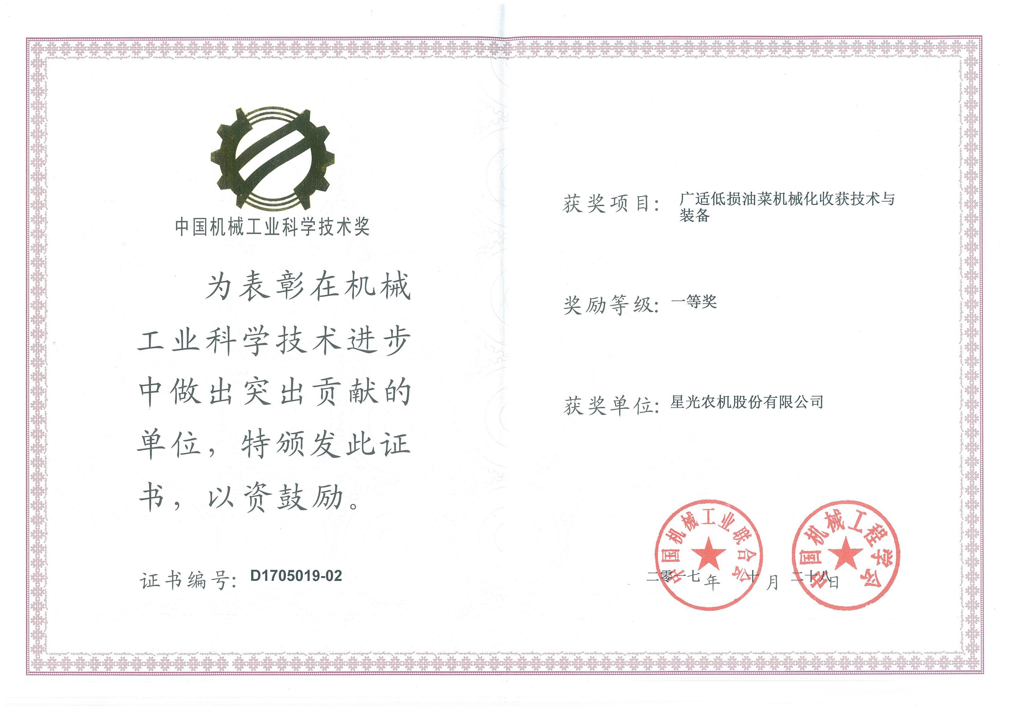 中国机械工业科学技术奖-一等奖
