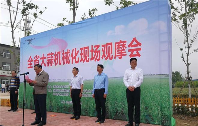 江苏省农机技术推广站组织召开大蒜机械化现场观摩会
