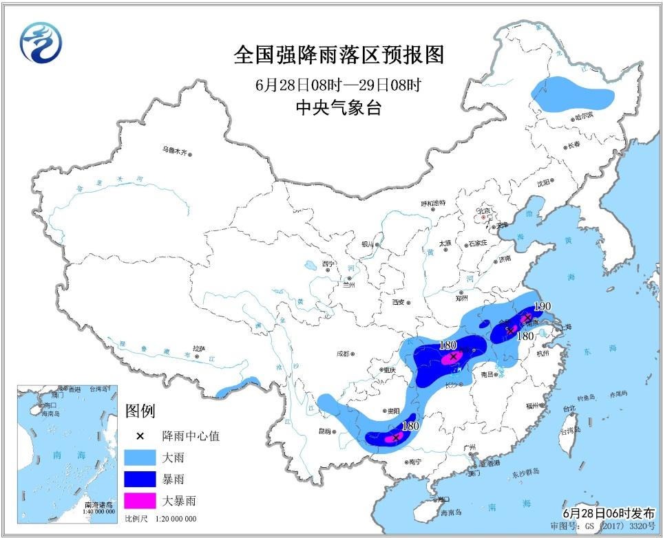 未来三天全国天气预报:黄淮南部至长江中下游有大到暴雨  北方局地有强降雨和强对流