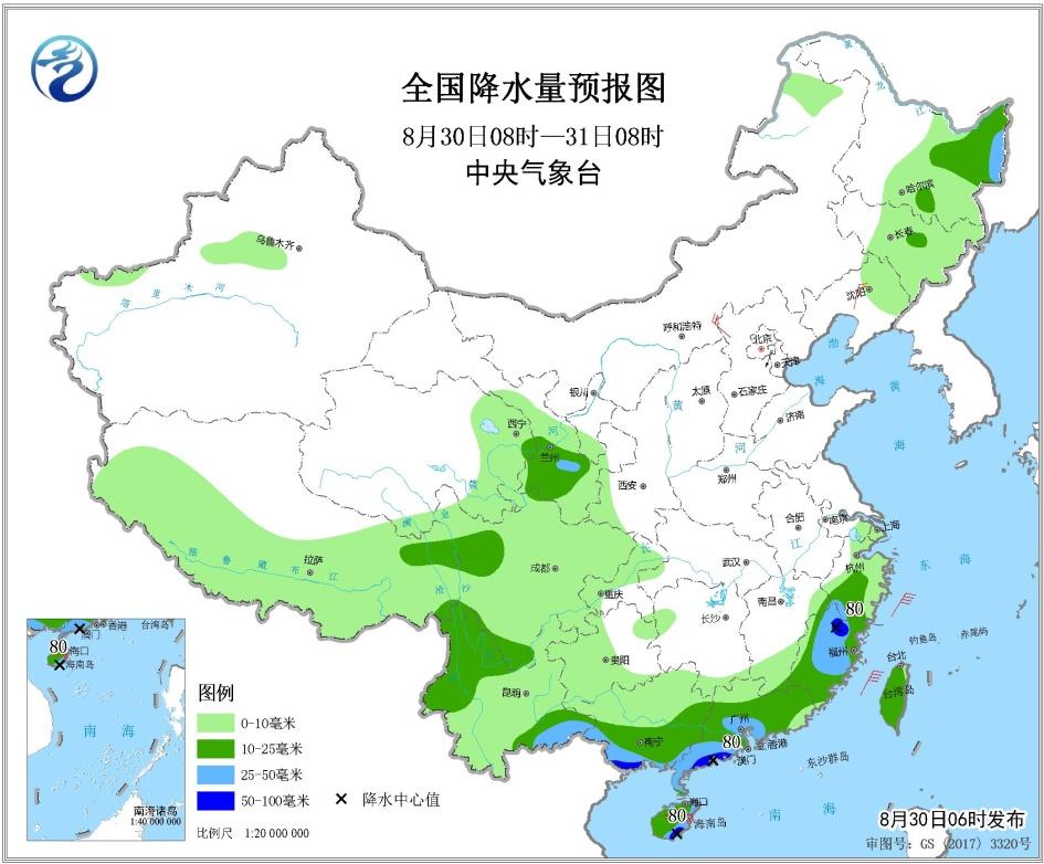 未来三天全国天气预报:华南江南东部云南等地有分散性强降雨